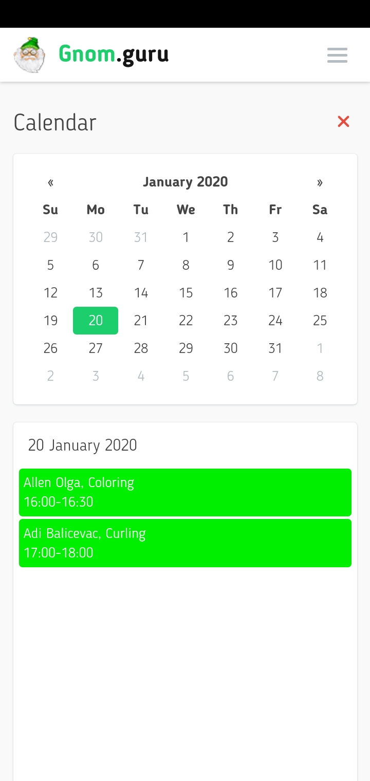 calendar screenshot gnomguru crm